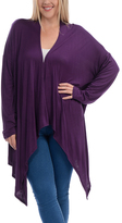 Bellino Plum Sidetail Open Cardigan - Plus