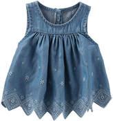 Osh Kosh Oshkosh Round Neck Sleeveless Denim Blouse - Baby Girls