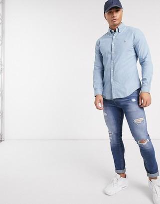 Polo Ralph Lauren chambray shirt slim fit player logo in light wash