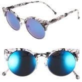 BP Women's 50Mm Sunglasses - White Marble/ Blue