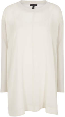 Eileen Fisher Ivory Silk-georgette Top