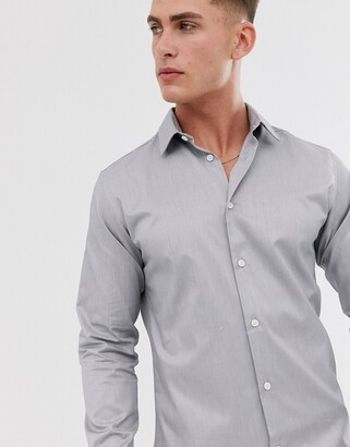 Selected BCI cotton slim fit shirt-Grey