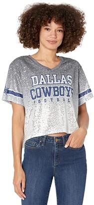 Dallas Cowboys Dallas Cowboys Cadence Crop Sequin Jersey (Gray) Women's Clothing