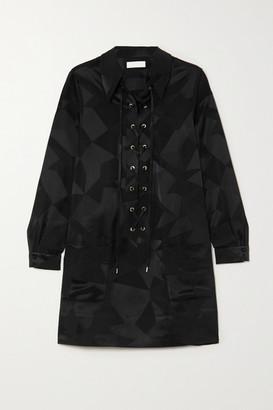 Racil Lace-up Satin-jacquard Mini Dress - Black