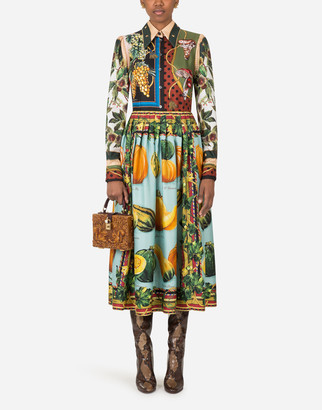 Dolce & Gabbana Longuette Dress In Twill With Autumn Print