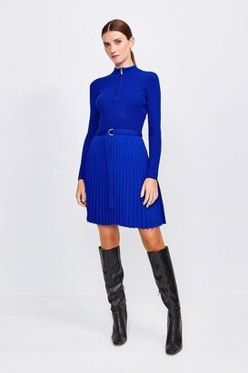 Karen Millen Pleated Short Skirt Knitted Dress