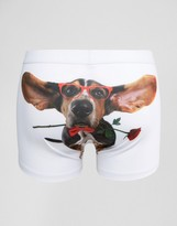 Asos Valentines Trunks With Dog Print