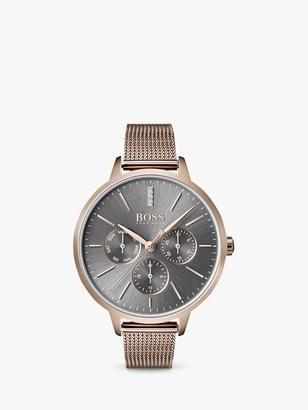 HUGO BOSS 1502424 Women's Symphony Day Date Mesh Bracelet Strap Watch, Gold/Grey