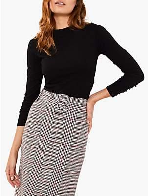 Mint Velvet Check Belted Pencil Skirt, White/Multi