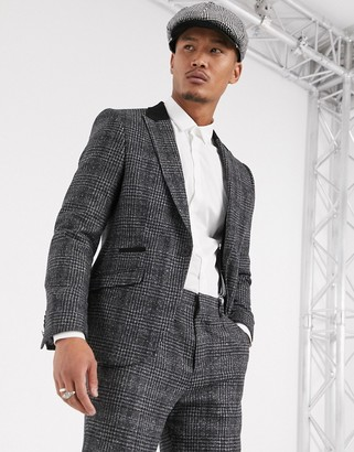 Shelby & Sons slim suit jacket with contrast collar in charcoal check-Black