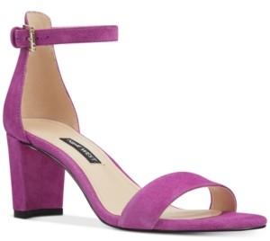 Nine West Women's Pruce Ankle Strap Block Heel Sandals Women's Shoes