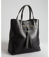 Gucci black leather horse bit and tassel tote with pouchette