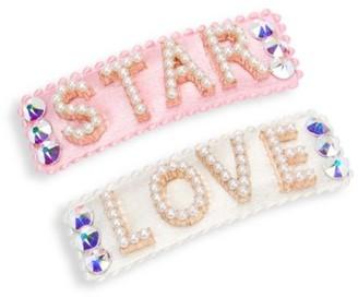 Bari Lynn Star & Love Imitation Pearl & Swarovski Crystal-Embellished 2-Piece Barrette Set