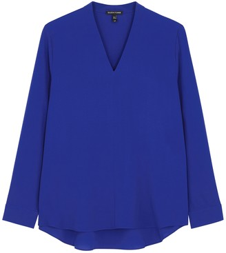 Eileen Fisher Cobalt Blue Silk-georgette Blouse