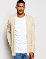 Asos Longline Jersey Waterfall Cardigan In Beige