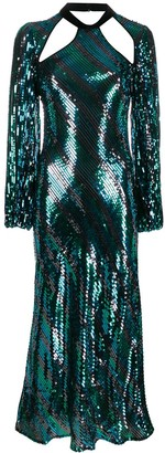 Rixo Celia sequinned striped dress