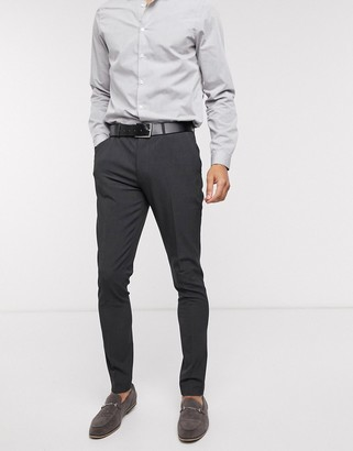 ASOS DESIGN wedding super skinny suit trousers in charcoal four way stretch