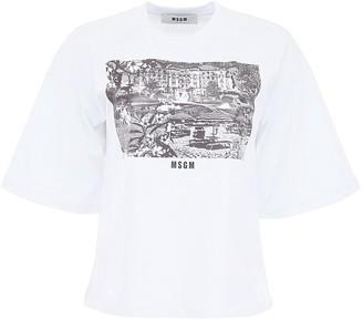 MSGM Grand Hotel Di Rimini Logo Print T-Shirt