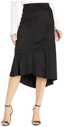 Kensie Stretch Suede Skirt with Ruffle Hem Detail KS0K6289