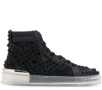 Philipp Plein Crsytal-Embellished High-Top Sneakers