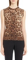 Dolce & Gabbana Leopard Print Silk & Cashmere Sweater