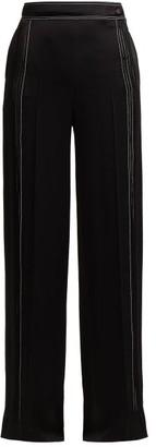 Valentino High-rise Hammered Silk-satin Wide-leg Trousers - Womens - Black