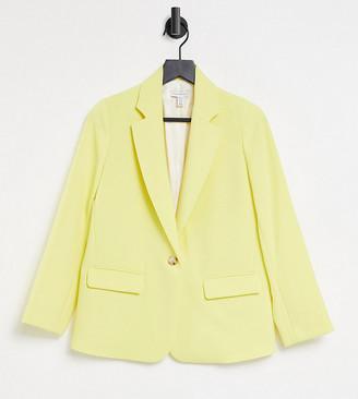 Topshop Petite clean crepe blazer in lemon