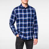 Paul Smith Men's Indigo 'Shadow Plaid' Cotton Shirt