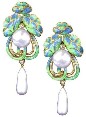Kojis Gold Art Nouveau-Style Enamel Diamond And Pearl Drop Earrings