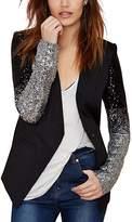 HAOYIHUI Womens Casual PU Patchwork Sequin Long Sleeve Button Blazer(L,)