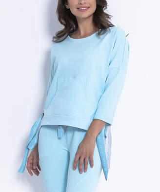 Fobya Women's Sweatshirts and Hoodies SKYBLUE - Sky Blue Kangaroo-Pocket Side-Tie Sweatshirt - Women