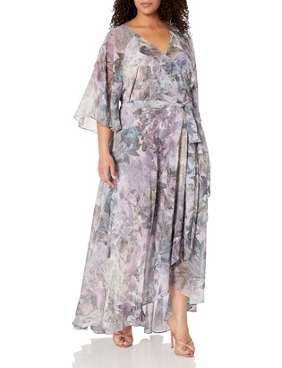 City Chic Women's Apparel Women's Plus Size Pastel Printed Maxi Dress with wrap and tie Detail