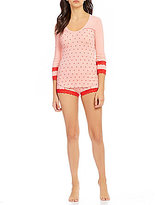 Betsey Johnson Heart-Print Ribbed Pajamas
