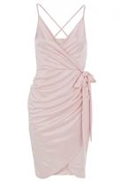 Quiz Pink Slinky Wrap Over Bodycon Dress