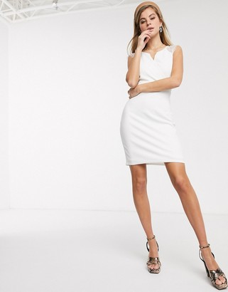 Morgan lace insert sleeve pencil dress in white