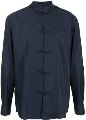 Shanghai Tang Mandarin Collar Chambray Shirt