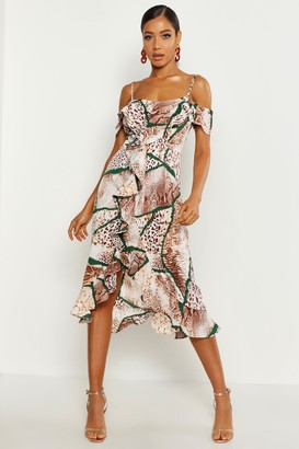 boohoo Woven Mixed Animal Print Ruffle Maxi Dress