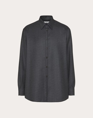 Valentino Long-sleeved Shirt With All-over Vltn Times Print Man Grey Wool 100% 37