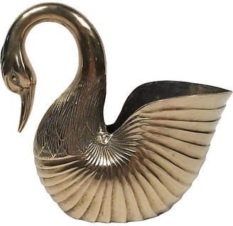 One Kings Lane Vintage Heirloom Brass Swan Planter - Tobe Reed