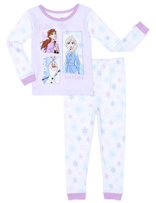 Frozen 2 Toddler Girls Snug Fit Cotton Long Sleeve Pajamas, 2pc Set (2T-5T)