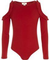 River Island Girls Red rib frill cold shoulder bodysuit