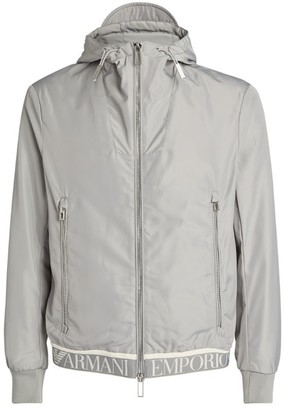 Giorgio Armani Hooded Logo Tape Bomber Jacket