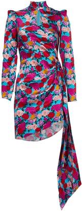 Giuseppe di Morabito Floral Satin Draped Mini Dress