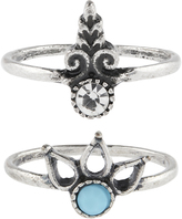 Accessorize 2x Turquoise & Crystal Midi Ring Set