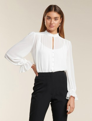 Forever New Xanna Sheer Blouse - Porcelain - 10