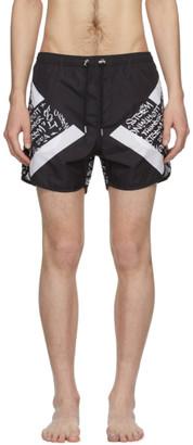 Neil Barrett Black Graffiti Swim Shorts