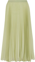 Maison Margiela Pleated Chiffon Midi Skirt - Green