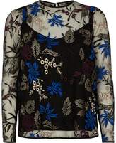 River Island Womens Navy floral embroidered mesh top