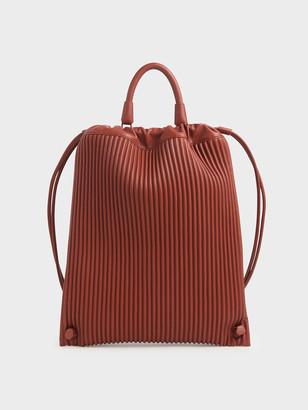 Charles & Keith Large Textured Drawstring Backpack