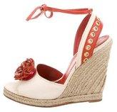 Saint Laurent Floral-Embellished Wedge Sandals